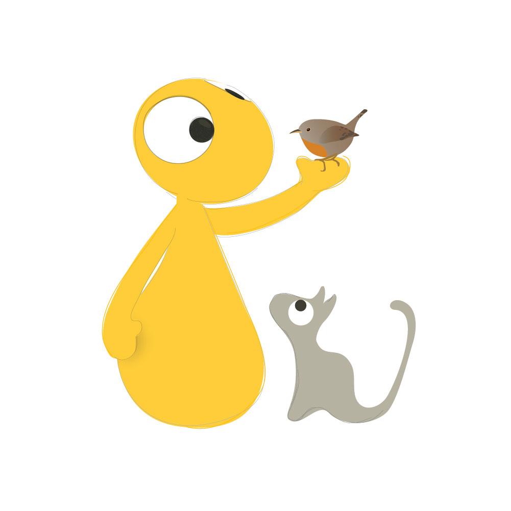 schets van olli en jeujeu met een vogel
