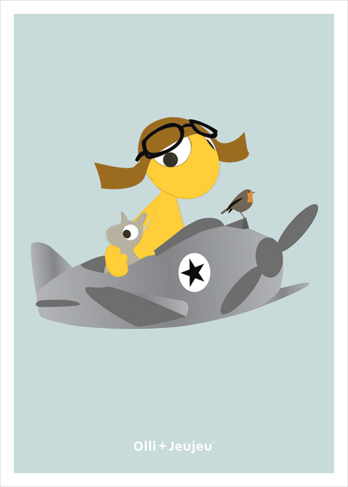 Poster olli en jeujeu in vliegtuig