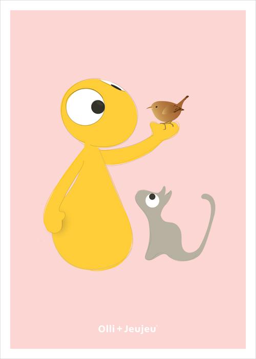 Poster ollie en jeujeu met vogeltje