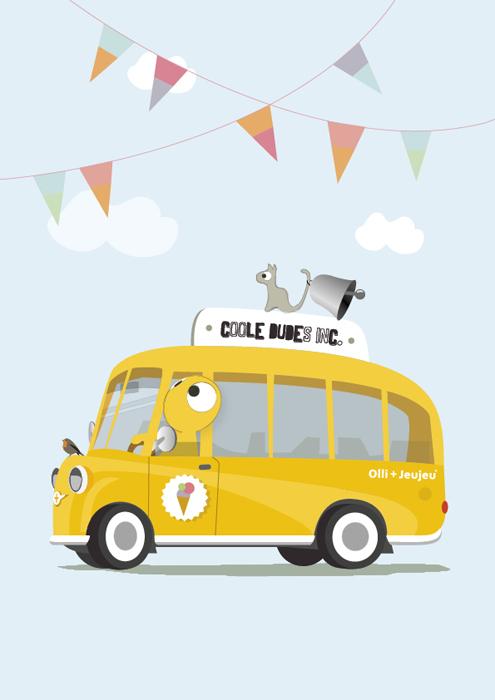 Poster 'coole dudes inc' schoolbus